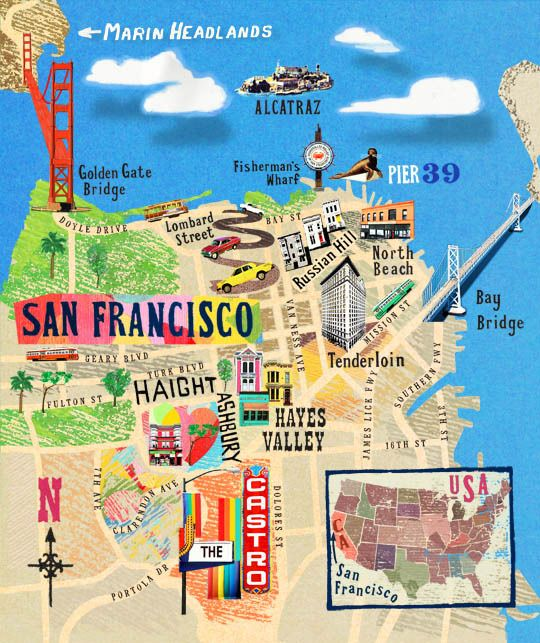 Sparkle 115 Illustrated Travel Maps Pumpernickel Pixie – Las Vegas Tourist Attractions Map