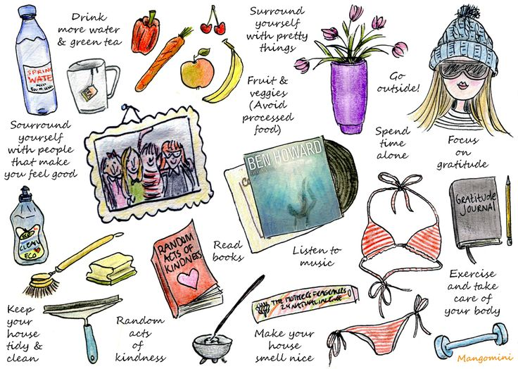 health, fitness, nutrition, exercise, yoga, drink water, eat right, fruits, vegetables, green tea, illustrations, illustrated art, inspiring art, happy, take a break, positive, meditation, meditate, mindful living, pumpernickel pixie