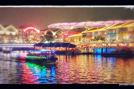 rainbow night, clarke quay, singapore, river, magical, night out, night photography, river photography, boating, holiday, photo a week, photography, pumpernickel pixie