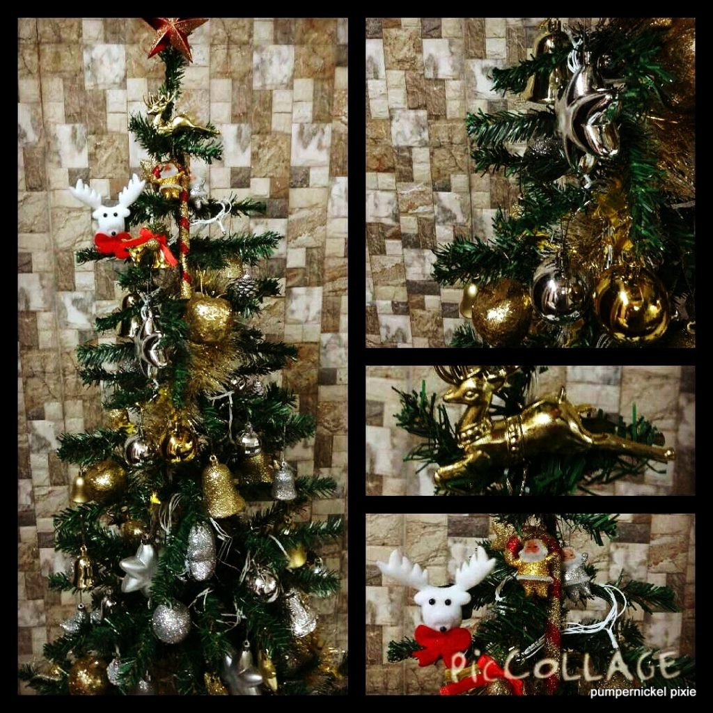 A gold white christmas tree pumpernickel pixie for White and gold tree decorations