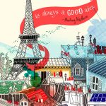 paris travel art illustrations painting