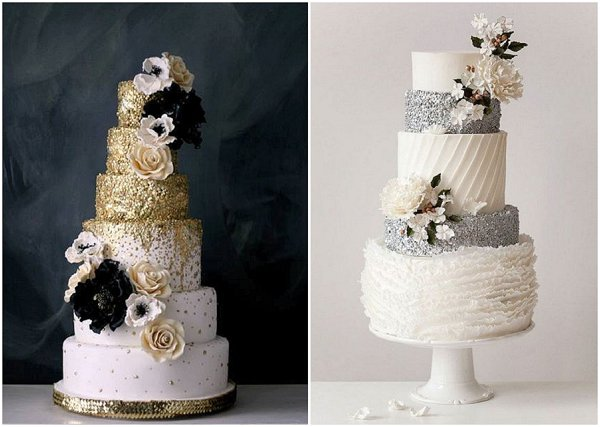sequin cakes 2015 wedding cake trends