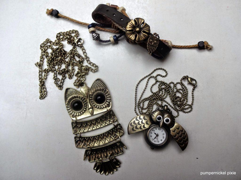 boho owl jewelry vintage owl jewelry owl necklace owl pocket watch owl bracelet pumpernickel pixie