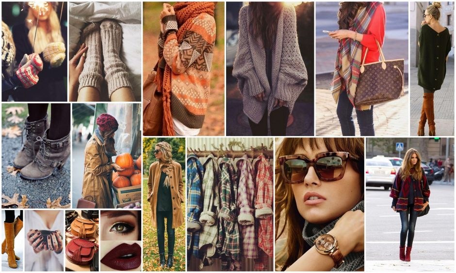 fall, autumn, fashion, accessory, trends, collage, mood board, creative, wardrobe, clothes, shades, beauty, makeup, colors, warm, knits, sweaters, cardigans, bags, sunglasses, layering, scarf, coat, hat, boots, plaid, socks, dark, hair style, pumpernickel pixie