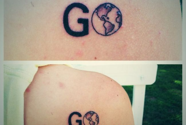 travel, tattoo, travel tattoo, minimalist tattoo, charming tattoo, tiny tattoo, plane tattoo, map tattoo, globe tattoo, word tattoo, pumpernickel pixie