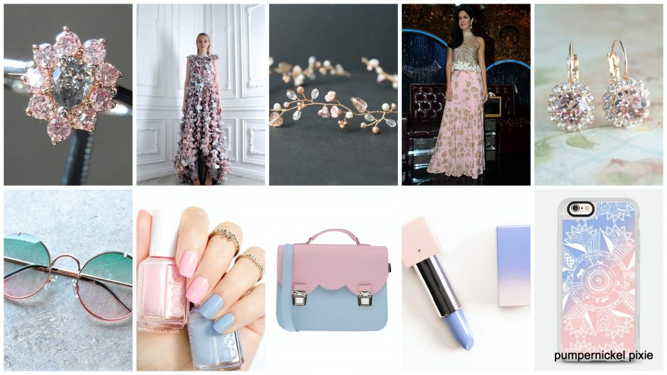 pantone color of the year, pantone colors for 2016, rose quartz and serenity, rose quartz serenity mood board, fashion mood board, rose quartz serenity palette, pink and blue, #rosequartz, #serenity, #colorsoftheyear, #pantone, pumpernickel pixie